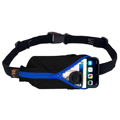 SPIbelt Running Belt Large Pocket, No-Bounce Waist Bag for Runners, iPhone 6 7 8-Plus X Athletes and Adventurers (Black with Blue Zipper, 25' Through 47')