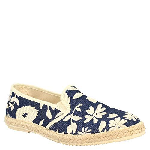 Leonardo Shoes Alpargatas Slip-on de Punta Redonda para Hombre Hechas a Mano en napa Blanca y Azul con Estampado Floral - Número de Modelo: Gerbera Blue - Tamaño: 39 EU