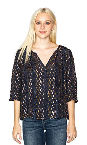 """415KgbhdATL. SL500 SPECIFICS: Available in Multi (blue blouse with blue, and gold color sequins). Model is 5'9"""" and wearing a size small. Fit is true to Velvet's standard sizing, but it is mean to have a loose fit. MATERIAL: Fabric is 100% Viscose. Made in India. CARE INSTRUCTIONS: Dry clean only."""