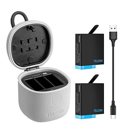 TELESIN allinBox Caricabatteria per Gopro,Kit di Multifunzione per Gopro,Caricatore USB a LED a 3 Canali,Ricarica+Lettore di Scheda SD,per Hero 8 Black/Hero 7/Hero 6/5(Caricabatteria+2 batterie)