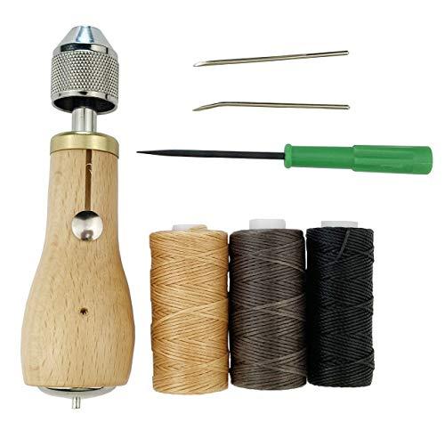 Becho - Punteruolo professionale per cucito e lavori artigianali in pelle, kit di accessori per riparazione cucitrice con filo cerato 3 R per vela in pelle, tela pesante e molto altro ancora