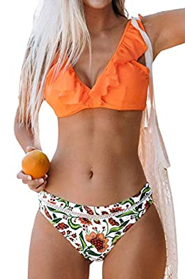 Design: Orange V Neck Bikini Top with Ruffled Neckline. Low Rise and Floral Bikini Bottom. About Cup Style: With Removable Padded Cups. The Pattern is One of a Kind - The Exact Pattern You Receive Will Be Slightly Different Than the One Shown. Garmen...