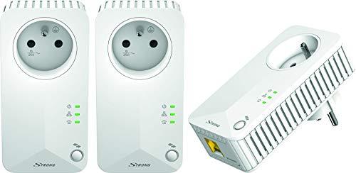 Strong Powerline 500 Netzwerkadapter 3er-Set (3 Powerlan Adapter, bis 500 Mbit/S, LAN Netzwerk aus der Steckdose, Fast-Ethernet-LAN) Weiß