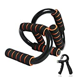 CESHUMD Push Up Bars Strength Training Home Workout Equipment Push up Handle with Foam Grip Pushup Stands for Floor Workouts for Floor Home Gym Traveling (Black + Orange)