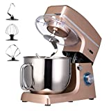 VIVOHOME 7.5-Qt. Stand Mixer, 660W 6-Speed Tilt-Head Kitchen Electric Food Mixer with Beater, Dough Hook and Wire Whip, Champagne