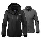 OutdoorMaster Women's 3-in-1 Ski Jacket - Winter Jacket Set with Fleece Liner Jacket & Hooded Waterproof Shell - for Women (Black,XL)