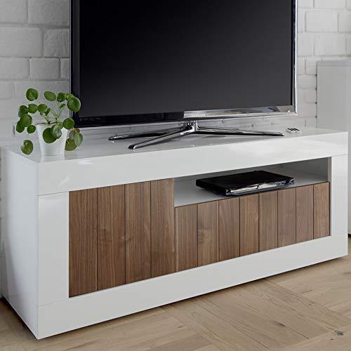 Mobile TV 140 cm marrone e bianco laccato moderno, 3 ante Urban 4