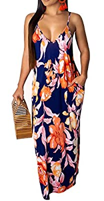 Plus Size Dresses,Boho Floral Beach Sundress,Flowy Fashionable Beach Dresses,Floral Prints Dresses,Cover Up Sundress,Relax Wear Maxi Dress,Loose and Wide Hem,Cami Boho Dress,Ankle Length/Floor Length This Sexy Spaghetti Strap Dress is Suitable for Be...
