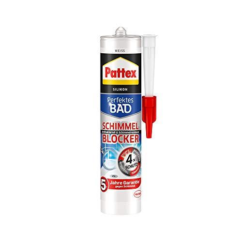 Pattex PFSBW Perfektes Bad Schimmel Blocker Silikon, Sanitärsilikon mit 4-fach-Schutz gegen Schimmel, Dichtmasse für 5 Jahre garantiert saubere Silikonfugen, 1 x 300ml