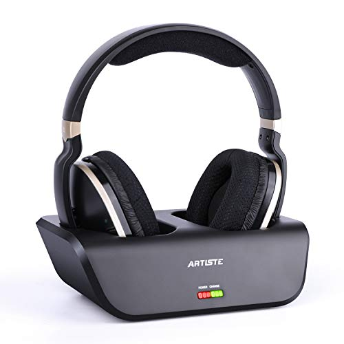 ARTISTE Wireless TV Headphones with Optical for Smart TV, Digital Stereo and 2.4GHz RF Transmitter and Charging Station, 100 foot Range and Rechargeable 20 Hours Battery, Black and Gold