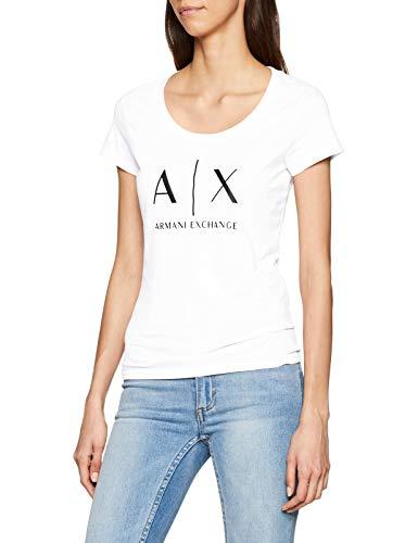 ARMANI EXCHANGE Logo SS T-Shirt, Bianco (Optic White 1000), Large Donna