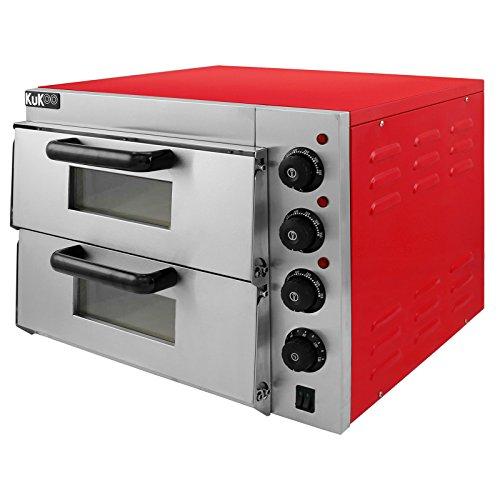 KuKoo Elektrischer Doppelkammer Pizzaofen Elektro Pizzaofen Doppel Backofen Pizzaofen elektronischer Pizzaofen mit Innenbeleuchtung Ofen Temperatur bis zu 350ºC