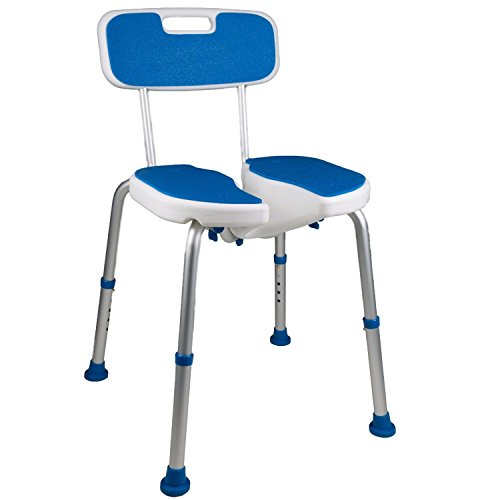 Shower Safety Seat, Cutout for Easy Cleaning, Non-Slip Bath Support Recovery Chair with Backrest