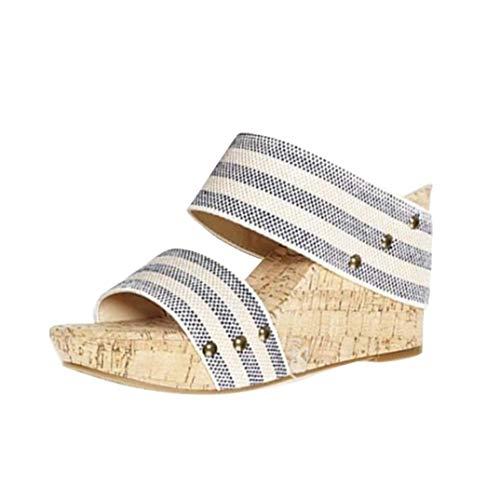 ORANDESIGNE Sandalias Mujer Cuña Alpargatas Plataforma Bohemias Romanas Playa Gladiador Verano Tacon Planas Zapatos Zapatillas Zapatos de Verano Raya 37 EU
