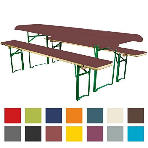 Bierbankauflagen Set 3teilig Comfort XS in versch. Farben und Größen für 50cm Tische Braun