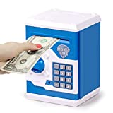 Subao Kids Piggy Bank Toy,Birthday Gift Toys for Kids Ages 3-12 Electronic ATM Password Coin Money Bank Paper Cash Dollar Auto Scroll Bank for Boys Girls Ages 4-12 Years Old Blue