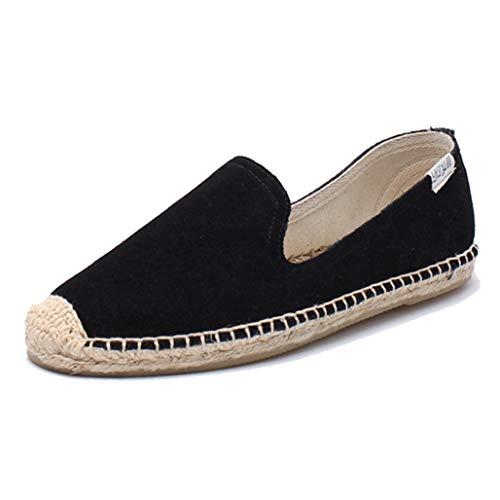 Cuero de Las Mujeres resbalón del holgazán Ocasional en el Ante Low Top Classic Zapatos Casuales Planos Mujer Color sólido Alpargata