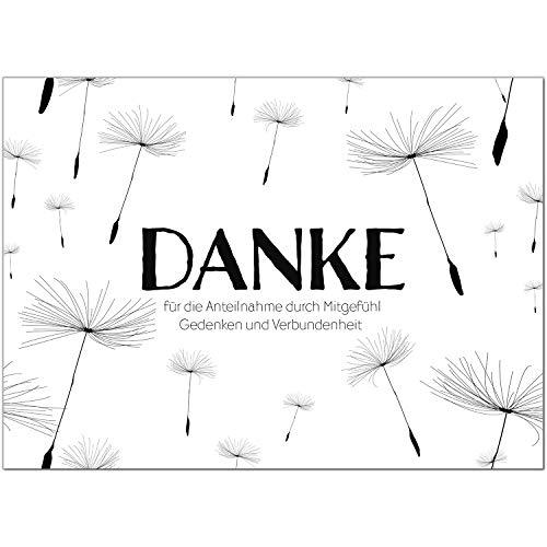 15 x Trauer Danksagungskarten mit Umschlag DIN A6, Motiv Zarte Pusteblumen im Wind, Danke Sagen nach Beerdigung