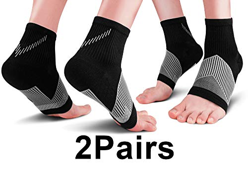 Plantar Fasciitis Compression Socks (2 Pairs) for Men Women, Foot Compression Sleeves Relief Socks Ankle Brace for Heel and Achilles Tendon Support, Relieve Arch Pain, Achilles Tendonitis