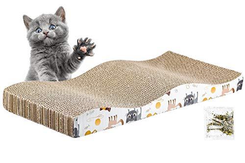 Inntek Kratzbrett für Katzen mit Katzenminze, 43.5cm x 21.5cm Katzenspielzeug Kratzbrett für Katzen mit Katzenminze, Katzen-Lounge Zum Kratzen und als Schlafplatz