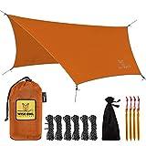 Wise Owl Outfitters Rain Tarp - 11 x 9 ft Lightweight & Waterproof Hammock Tarp w/ Easy Setup - Backpacking, Hiking, and Camping Essentials, Orange
