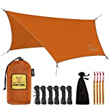 Wise Owl Outfitters Rain Fly Tarp – The WiseFly Premium 11 x 9 ft Waterproof Camping Shelter Canopy – Lightweight Easy Setup for Hammock or Tent Camp Gear – Orange