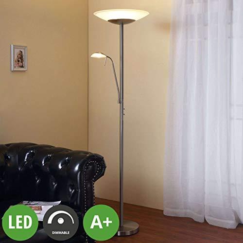 Lindby LED Stehlampe \'Ragna\' dimmbar (Modern) in Weiß aus Glas u.a. für Wohnzimmer & Esszimmer (2 flammig, A+, inkl. Leuchtmittel) - Wohnzimmerlampe, Stehleuchte, Floor Lamp, Deckenfluter