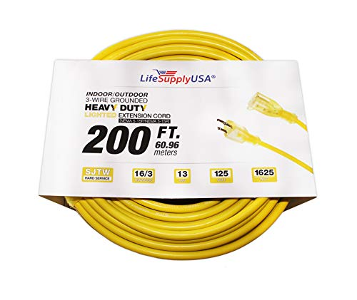 LifeSupplyUSA 16/3 200ft SJT 13 Amp 125 Volt 1625 Watt Lighted End Indoor/Outdoor Heavy Duty Extension Cord (200 Feet)