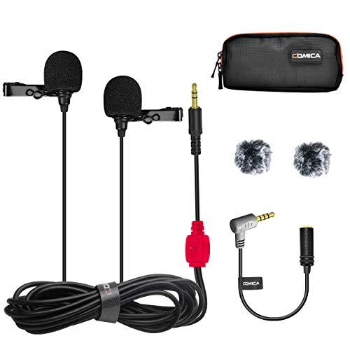 COMICA CVM-D02 Dual-Head Lavalier microfono omnidirezionale condensatore Clip intervista Youtube Mini microfono per Smartphone Iphone Canon Sony Panasonic DSLR fotocamera GoPro 3,4(Red,177inch)