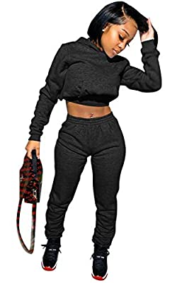 Material: Cotton blend + Polyester,Soft, strenchy and lightweight fabric.Comfy to wear. Feature: Solid Color, Long sleeve crop top hoodie sweatshirts, Elastic waist jogging pants, Sweat suits for women set, Two piece outfits. Fashion womens 2 piece s...
