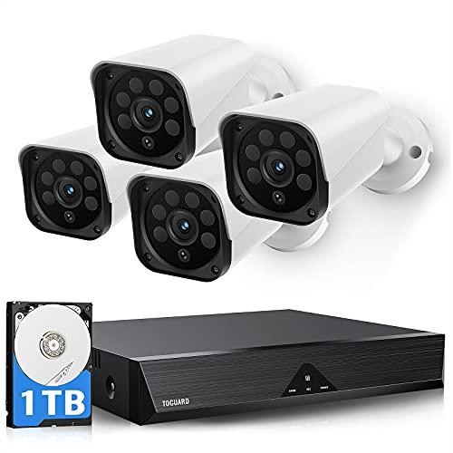 TOGUARD 1TB 8CH Disco duro Kit de cámaras de vigilancia DVR Grabador de video con 4 piezas HD 2MP 1080P Cámara de seguridad Soporte VGA Salida HDMI 100 pies Visión nocturna