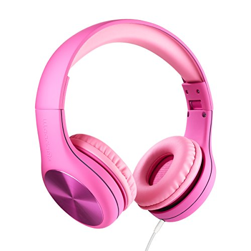 LilGadgets Connect+ PRO Kids Premium Volume Limited Wired Headphones with SharePort and Inline Microphone (Children) - Pink