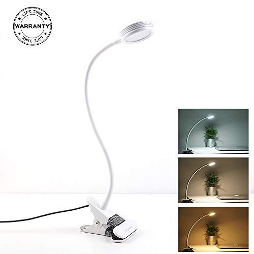 Eyocean Leselampe Buchlampe, LED Klemmleuchte 3 Farb- und 9 Helligkeitsstufen dimmbar, 360° Flexibel Schwanenhals Schreibtischlampe, Leselampe mit Klammer, USB 1.6 m Kabel,Inklusive CE Adapter (Weiß)