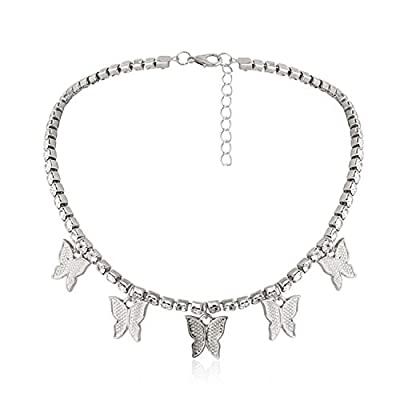 """Butterfly Tennis Chain Necklace:3mm Silver tennis chain necklace, delicate butterfly charms,bling iced attractive,ideal gifts for women girls. Tennis Chain Choker Material:Butterfly Choker chain length is 12.6""""+3.9"""",Butterfly pendent size length 0.5""""..."""