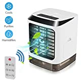 Portable Air Conditioner Fan, 3 in 1 Mini USB Personal Space Air Cooler,Mini Desktop Cooling Fan, Personal Air Cooler Table Fan for Home Bedroom Office Wireless Remote C