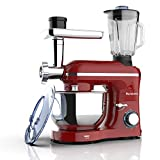Nurxiovo 3 in 1 Stand Mixer, 850W Tilt-Head 6.5QT Kitchen Food Mixer, Multifunction Standing Mixers, 6 Speed with Pulse Electric Mixer, Meat Blender and Juice Extracter Red