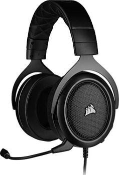 Corsair HS50 PRO Stereo Casque de Gaming Mousse à mémoire ajustables Oreillettes, Unidirectionnel Antibruit amovible Microphone avec PC, PS4, Xbox One, Switch et appareils mobiles Compatibilité - Noir