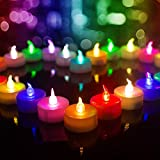 Beichi Color Changing LED Tea Lights Bulk, Set of 24 Flameless Tealight Candles with Colorful Lights, Battery Operated Colored Fake Candles, No Flickering Light, [White Base]