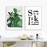 MXK Letras de Plantas nrdicas Ficus Pandurata Lienzo Pintura impresin Imagen Cartel Arte de la Pared Sala de Estar saln Oficina decoracin del hogar 40x60 cm sin Marco