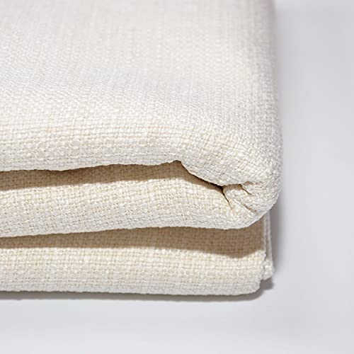 Yutong Fabric by The Yard and 9OZ-100% Polyester Upholstery Sewing Fabrics-Solid Ivory Pattern