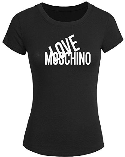 Maglietta 2016 da donna con stampa in lingua inglese Love Moschino, t-shirt a maniche corte Black S
