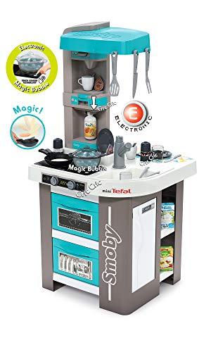 Smoby- Cucina Nuova Studio Bubble Blu Tiffany Elettronica, Colore Grigio/Azzuro, 311043
