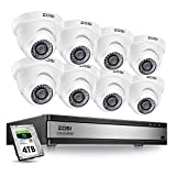ZOSI 16 Channel 1080p Security System,16 Channel DVR 4TB (Hard Drive) Full HD 1080p Hybrid Recorder and 8 Outdoor/Indoor CCTV Dome Camera 1080p with Long Night Vision and 105°Wide Angle