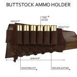 BronzeDog Adjustable Leather Buttstock Cartridge Ammo Holder for Rifles 12 16 Gauge or .30-30 .308 Caliber Hunting Ammo Pouch Bag Stock Right Handed Shotgun Shell Holder (Brown, 7.62 Caliber)