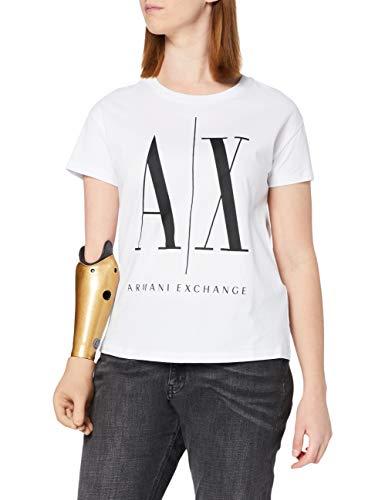 ARMANI EXCHANGE Icontee Logo T-Shirt, Bianco (White W/Black Print 5100), XX-Large Donna