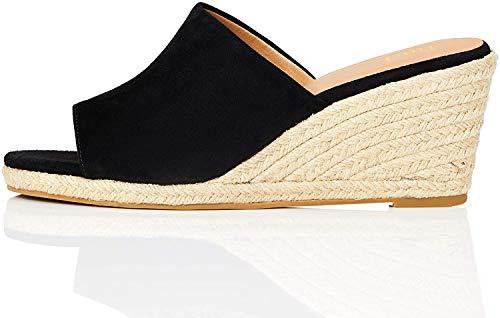 Marca Amazon - find. Mule Wedge Leather Sandalias con cuña Tipo Alpargatas, Negro (Black), 39 EU