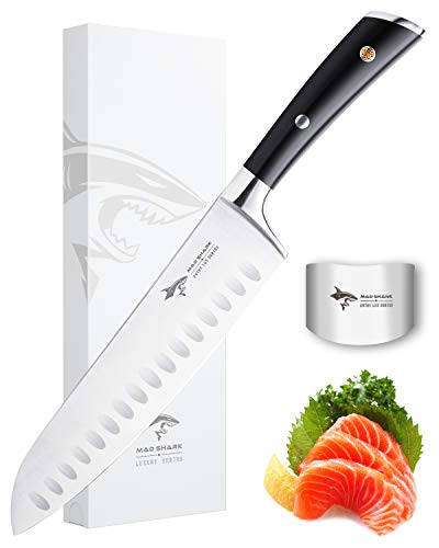 Santoku Knife - MAD SHARK Pro Kitchen Knives 8 Inch Chef's Knives, Best Quality German High Carbon Stainless Steel Knife with Ergonomic Handle, Ultra Sharp, Best Choice for Home Kitchen and Restaurant