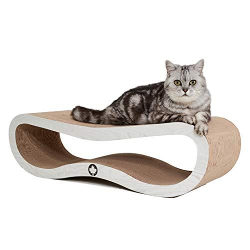 CanadianCat Company ® | | Orbit | 84 X 24 X 23cm | Kratzmöbel, Kratzbrett | XXL Kratzpappe für Katzen + Katzenminze | weiße Holzoptik Kratzkarton für Katzen