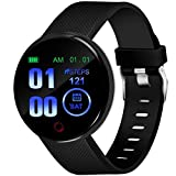 Lamkei Bouncefit Vector 1 Round Smartwatch (Black) [iOS/Android Compatible, IP67 Water Resistant, Silicone Strap, 1.3' OLED Display]