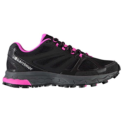 Karrimor Womens Tempo Trail Running Shoes Lace Up Breathable Padded Ankle Collar Black/Pink UK 6.5 (39.5)